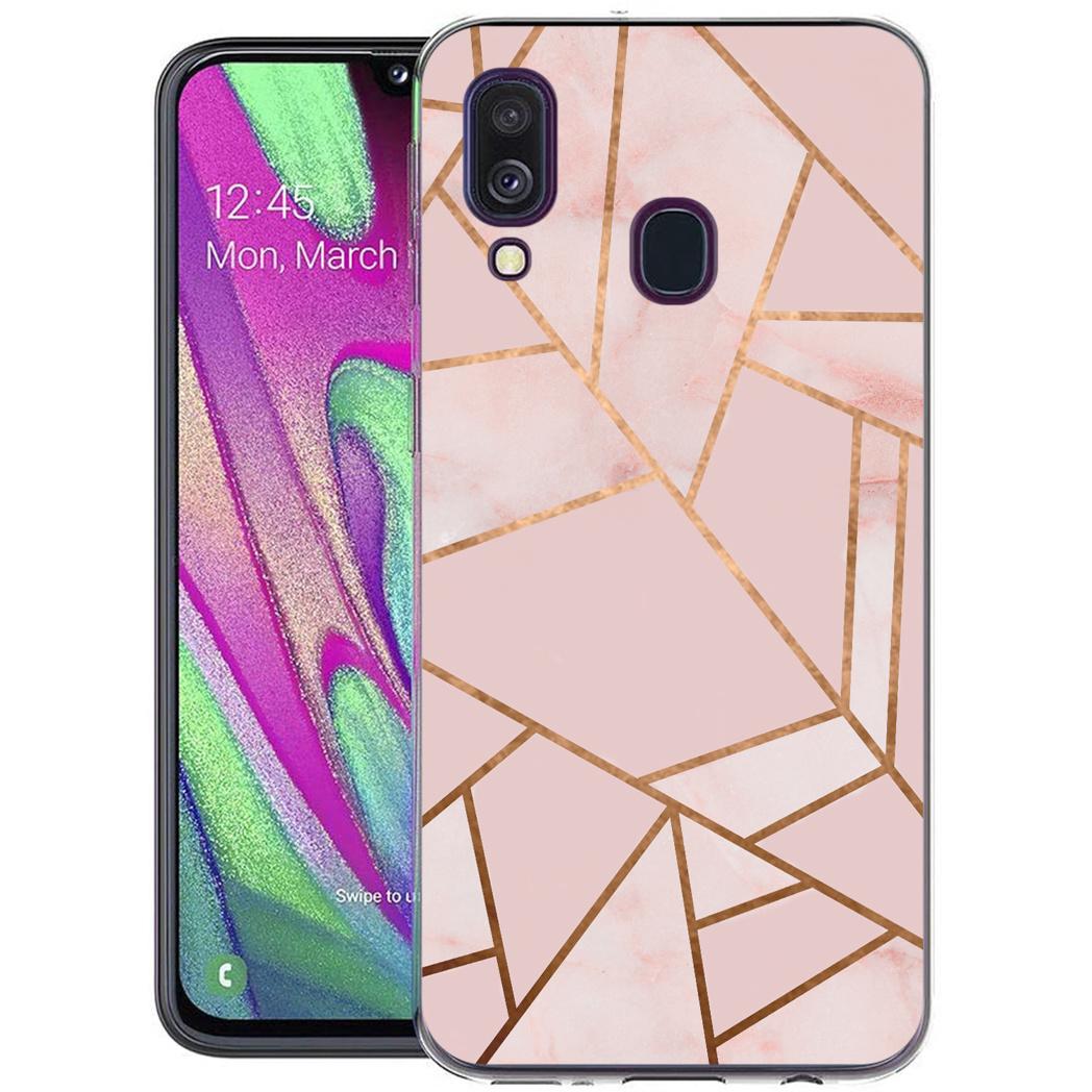 iMoshion Design hoesje Galaxy A40 - Grafisch Koper - Roze / Goud