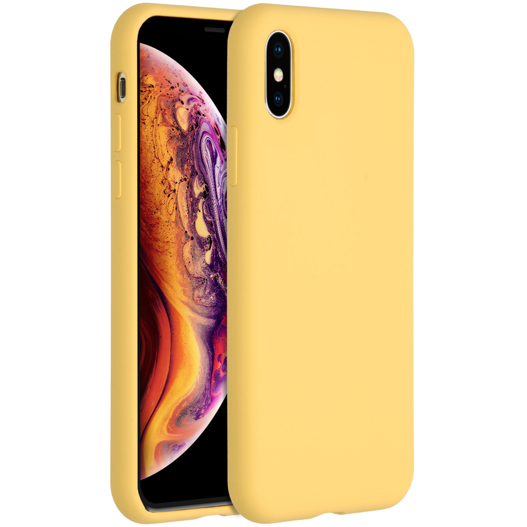 Accezz Liquid Silicone Backcover iPhone Xs / X - Yellow