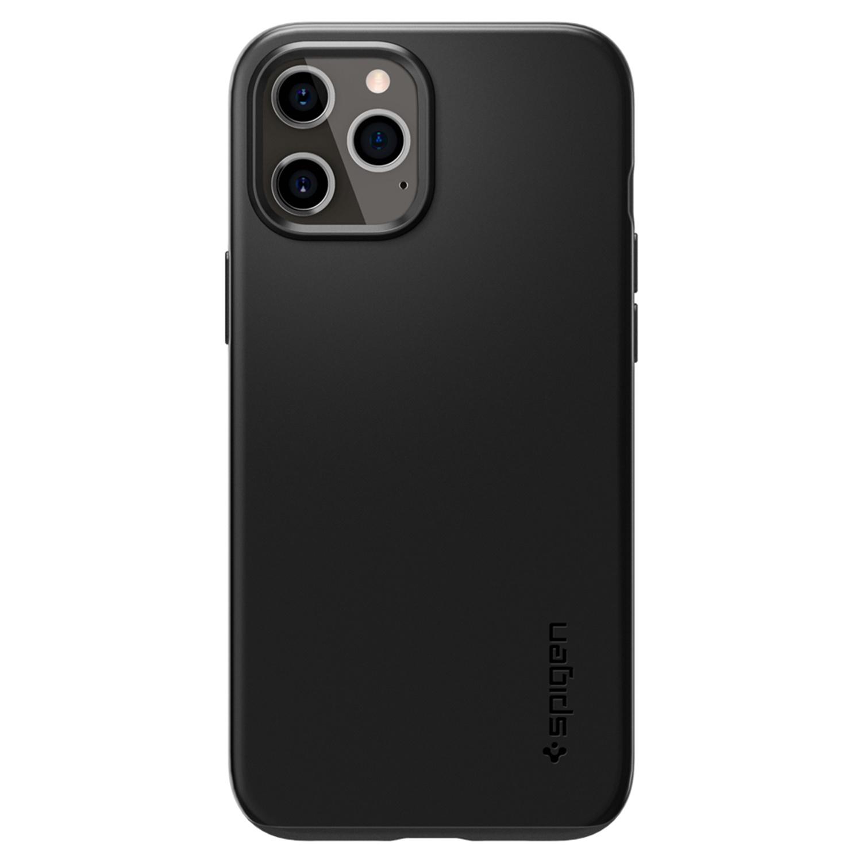 Spigen Thin Fit Air Backcover iPhone 12 (Pro) - Zwart