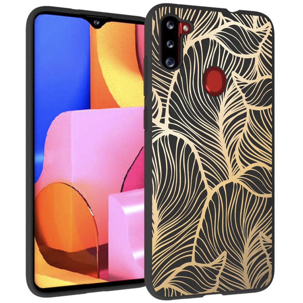 iMoshion Design hoesje Galaxy M11 / A11 - Bladeren - Zwart / Goud