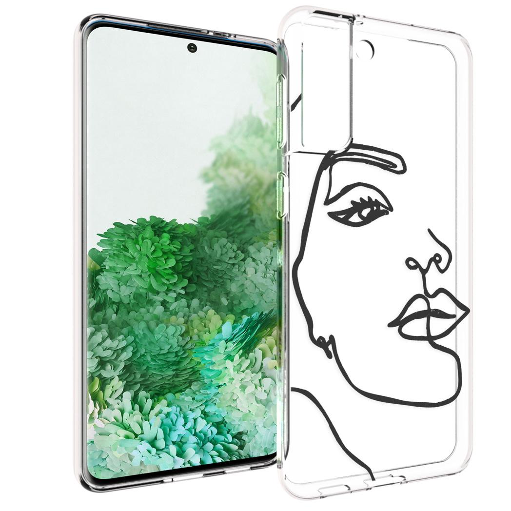iMoshion Design hoesje Galaxy S21 Plus - Abstract Gezicht - Zwart