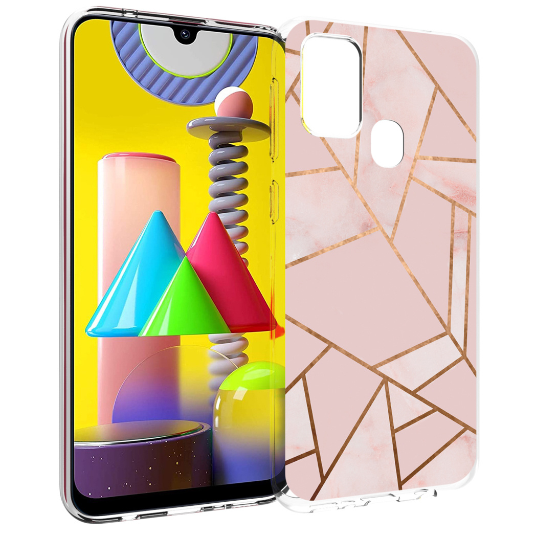 iMoshion Design hoesje Galaxy M31 - Grafisch Koper - Roze / Goud