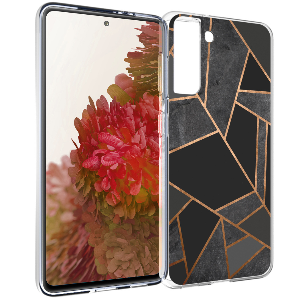 iMoshion Design hoesje Galaxy S21 - Grafisch Koper - Zwart / Goud