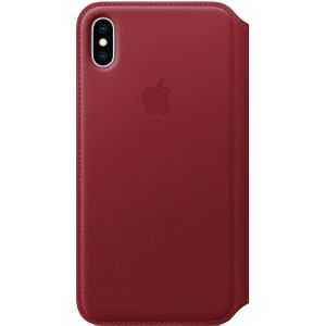 Leather Folio Booktype iPhone Xs Max - Rood