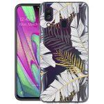 iMoshion Design hoesje Samsung Galaxy A40 - Bladeren - Zwart / Goud