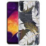 iMoshion Design hoesje Galaxy A50 / A30s - Bladeren - Zwart / Goud