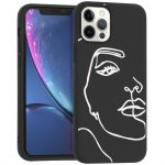 iMoshion Design hoesje iPhone 12 (Pro) - Abstract Gezicht - Wit