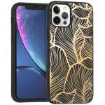 iMoshion Design hoesje iPhone 12 (Pro) - Bladeren - Goud / Zwart