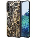 iMoshion Design hoesje Samsung Galaxy S21 - Bladeren - Zwart / Goud
