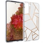 iMoshion Design hoesje Galaxy S21 - Grafisch Koper - Wit / Goud