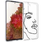 iMoshion Design hoesje Samsung Galaxy S21 - Abstract Gezicht - Zwart