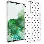 iMoshion Design hoesje Samsung Galaxy S21 Plus - Hartjes - Zwart