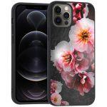 iMoshion Design hoesje iPhone 12 (Pro) - Bloem - Roze / Zwart