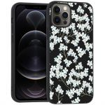 iMoshion Design hoesje iPhone 12 (Pro) - Bloem - Wit / Zwart