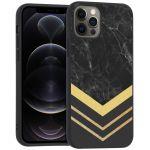 iMoshion Design hoesje iPhone 12 (Pro) - Marmer - Goud / Zwart