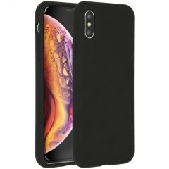 Accezz Liquid Silicone Backcover iPhone Xs / X - Zwart