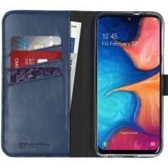 Selencia Echt Lederen Booktype Samsung Galaxy A20e - Blauw