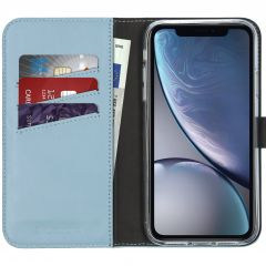Selencia Echt Lederen Booktype iPhone Xr - Lichtblauw