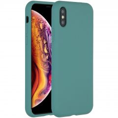 Accezz Liquid Silicone Backcover iPhone Xs / X - Donkergroen
