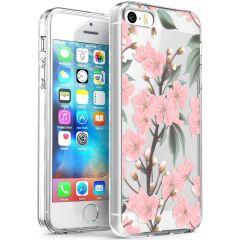 iMoshion Design hoesje iPhone 5 / 5s / SE - Bloem - Roze / Groen