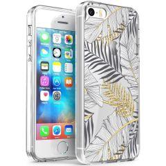 iMoshion Design hoesje iPhone 5 / 5s / SE - Bladeren - Zwart / Goud