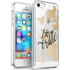 iMoshion Design hoesje iPhone 5 / 5s / SE - Let's Go Travel - Zwart