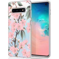 iMoshion Design hoesje Samsung Galaxy S10 - Bloem - Roze / Groen