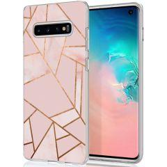 iMoshion Design hoesje Galaxy S10 - Grafisch Koper - Roze / Goud