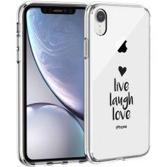 iMoshion Design hoesje iPhone Xr - Live Laugh Love - Zwart