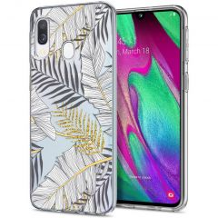 iMoshion Design hoesje Samsung Galaxy A20e - Bladeren - Zwart / Goud