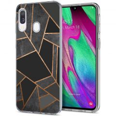 iMoshion Design hoesje Galaxy A20e - Grafisch Koper - Zwart / Goud