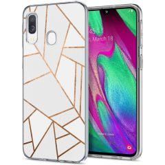 iMoshion Design hoesje Galaxy A20e - Grafisch Koper - Wit / Goud