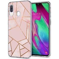 iMoshion Design hoesje Galaxy A20e - Grafisch Koper - Roze / Goud