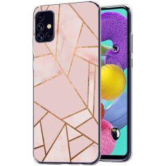 iMoshion Design hoesje Galaxy A51 - Grafisch Koper - Roze / Goud