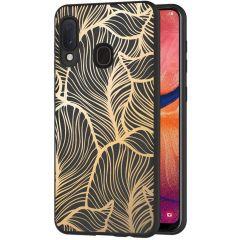 iMoshion Design hoesje Samsung Galaxy A20e - Bladeren - Goud / Zwart