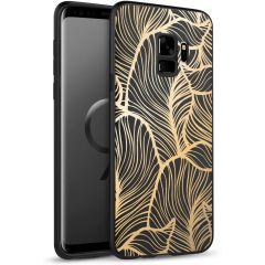 iMoshion Design hoesje Samsung Galaxy S9 - Bladeren - Goud / Zwart