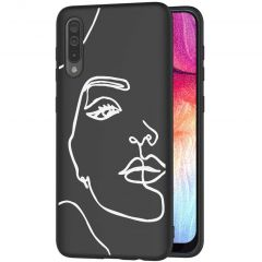 iMoshion Design hoesje Galaxy A50 / A30s - Abstract Gezicht - Wit