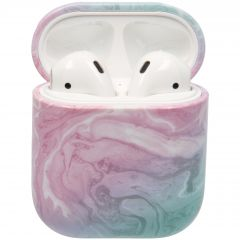 iMoshion Hardcover Case voor AirPods - Roze Marmer