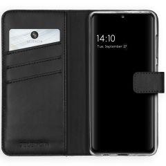 Selencia Echt Lederen Booktype Samsung Galaxy A41 - Zwart