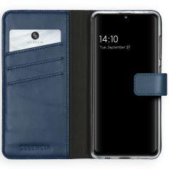 Selencia Echt Lederen Booktype Samsung Galaxy A41 - Blauw