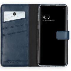 Selencia Echt Lederen Booktype Samsung Galaxy S10 - Blauw
