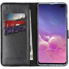 Selencia Echt Lederen Booktype Samsung Galaxy S10 Plus - Zwart