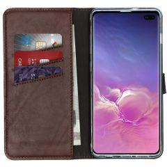Selencia Echt Lederen Booktype Samsung Galaxy S10 Plus - Bruin