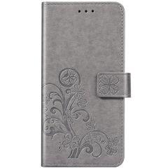 Klavertje Bloemen Booktype Xiaomi Redmi Note 8 / Note 8 (2021) - Grijs