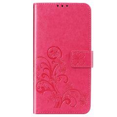 Klavertje Bloemen Booktype Xiaomi Redmi Note 8 / Note 8 (2021) - Fuchsia