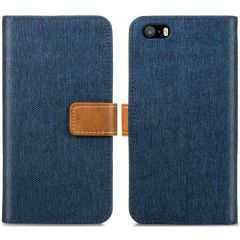 iMoshion Luxe Canvas Booktype iPhone SE / 5 / 5s - Donkerblauw