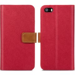 iMoshion Luxe Canvas Booktype iPhone SE / 5 / 5s - Rood