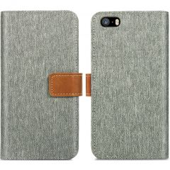 iMoshion Luxe Canvas Booktype iPhone SE / 5 / 5s - Grijs