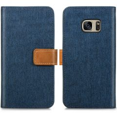 iMoshion Luxe Canvas Booktype Samsung Galaxy S7 - Donkerblauw