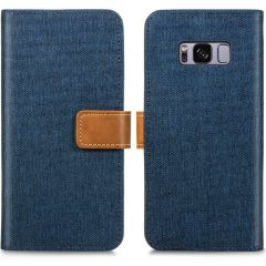 iMoshion Luxe Canvas Booktype Samsung Galaxy S8 - Donkerblauw